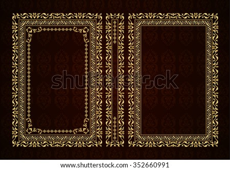 Vector classical book cover. Decorative vintage frame or border to be printed on the covers of books. Drawn by the standard size. Color can be changed in a few mouse clicks. Set of four covers