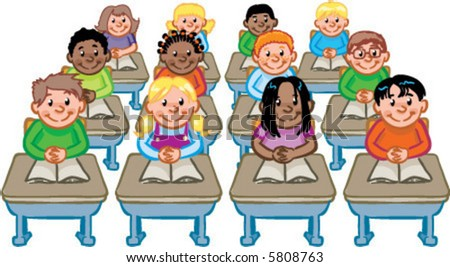 vector classroom full of students seated at their desks detailed illustration - stock vector