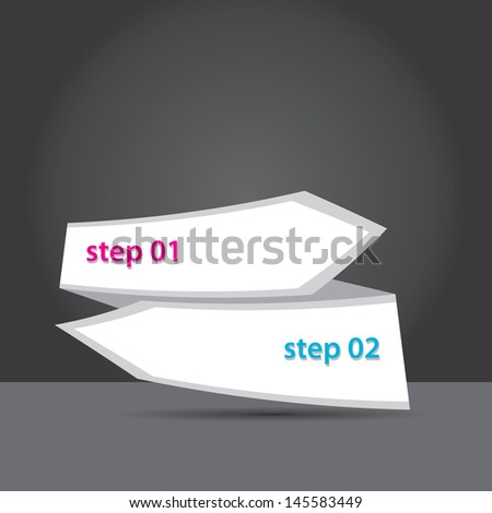 Vector clean white Paper Progress background / product choice or versions. vector red origami ribbon banner.