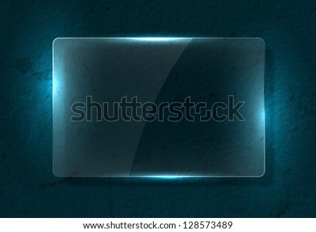 Vector clear glass banner over old distressed worn out blue wall background - stock vector
