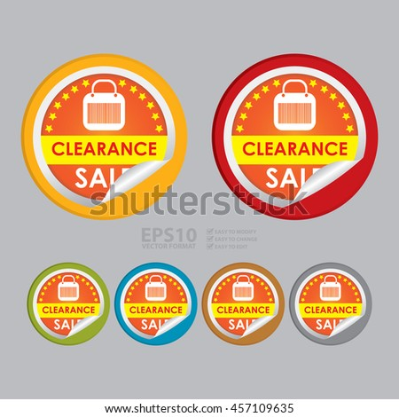Vector : Clearance Sale Special Promotion Campaign Infographics Icon on Circle Peeling Sticker - stock vector
