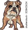 Vector, clip art, caricature illustration of BullDog dog. Hand drawn artwork in loose, expressive style with NO gradients or blends. - stock vector