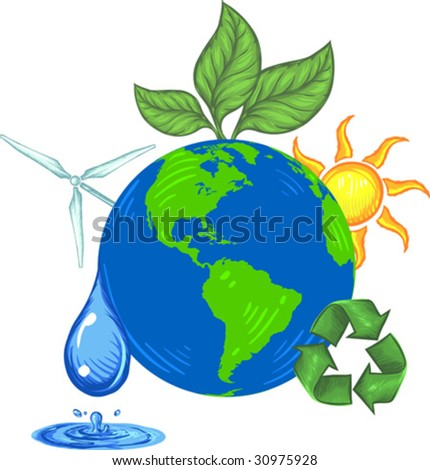 Vector, Clip Art illustration of earth an surounded by ecology icons including sun, wind, water, recycling symbol and green leaf. Hand drawn artwork with NO gradients.