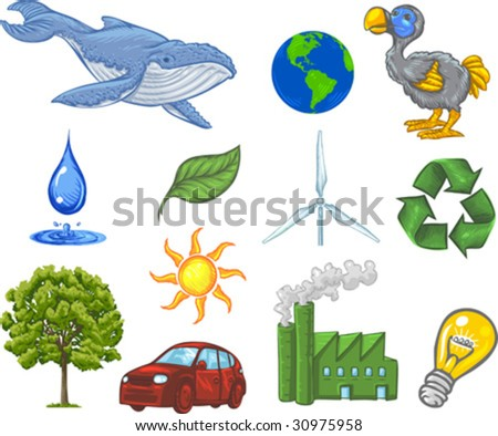 Vector, Clip Art illustration of ecology icons including earth, sun, wind, water, recycling symbol, tree, blue whale, dodo bird and green leaf. Hand drawn artwork with NO gradients. - stock vector