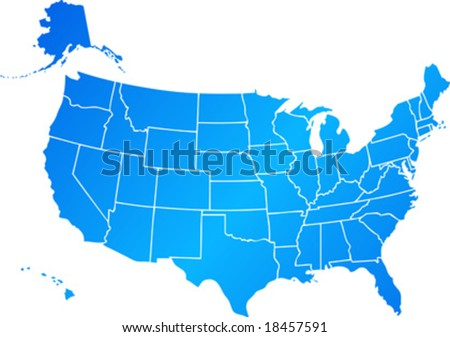 Vector clip art map of United States of America USA, with all fifty states showing, including Alaska and Hawai. Reference source: http://www.lib.utexas.edu/maps/ - stock vector