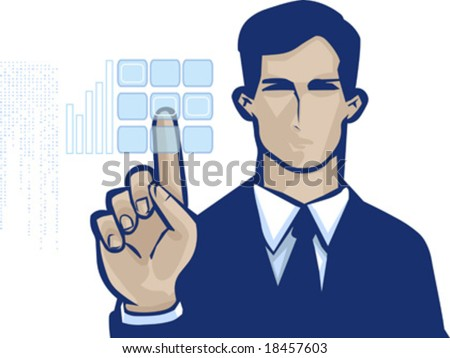 vector clip art of a business man in formal suit and serious facial expression, pushing touch screen access button - stock vector