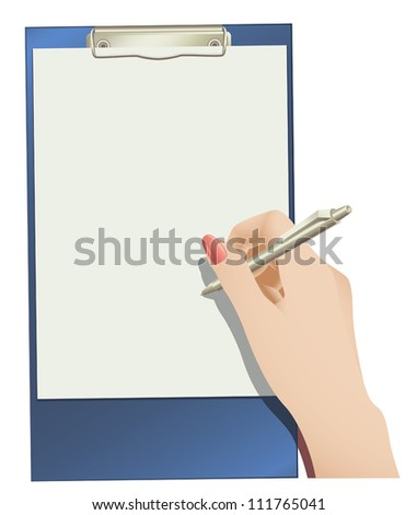 Vector clip pad and female hand holding a ballpoint pen