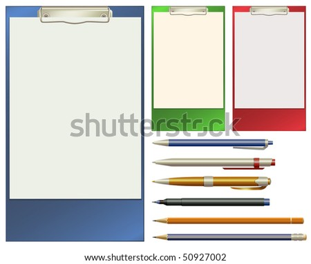 Vector Clip Pad and Pens - stock vector