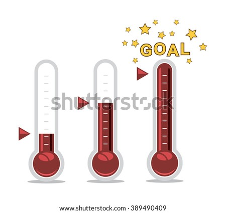vector clipart of goal thermometers at different levels - stock vector