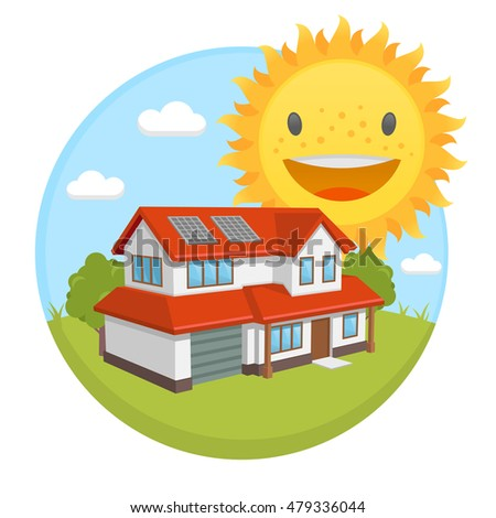 vector clipart solar energy panels house stock vector 479336044 rh shutterstock com renewable energy clipart solar energy clipart images