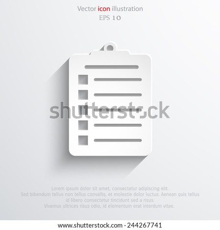 Vector clipboard web icon Eps10. - stock vector