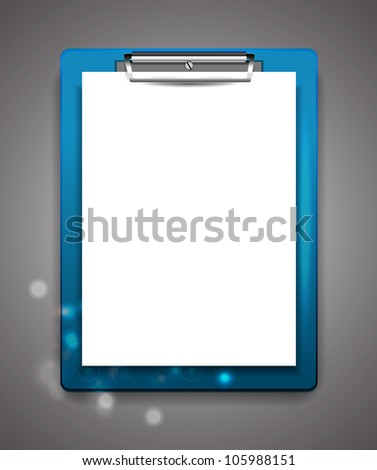 Vector clipboard with blank paper - stock vector