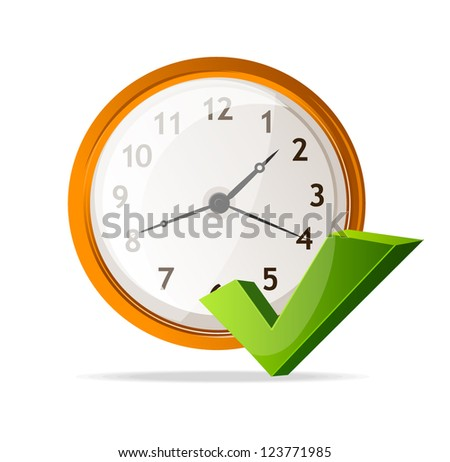 Vector clock Icon and check mark - stock vector
