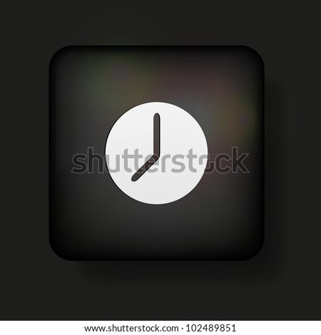 Vector clock icon on black. Eps10 - stock vector
