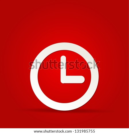 vector clock icon on red background - stock vector