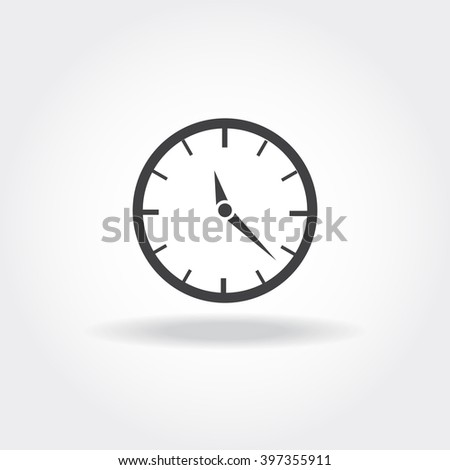 Vector clock icon. Time limit image. Alarm illustration. Stopwatch flat symbol. Template for web-design, office tools, advertisement, IT development - stock vector
