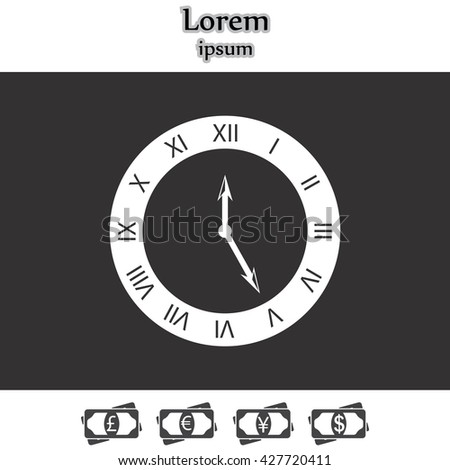 Vector Clock Icon. Vector illustration