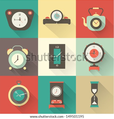 Vector clock icons set - stock vector