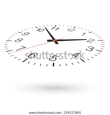 Vector clock. View from above and one side. - stock vector