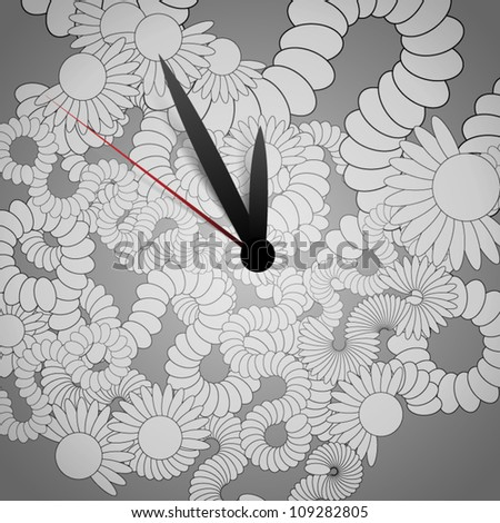 Vector clock with abstract flower- background - stock vector