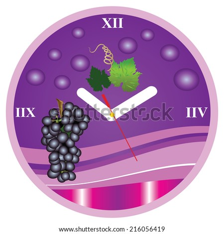 vector clock with grape,vector illustration of a clock with ripe grapes and leaves,clock for kitchen - stock vector