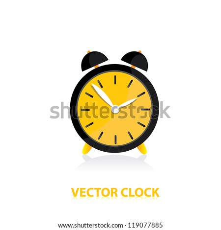 vector clocks Icon. orange alarm clock. - stock vector