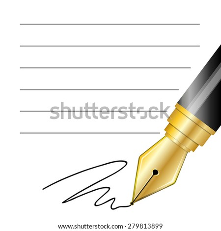 Vector Close up of a fountain pen and signature - stock vector