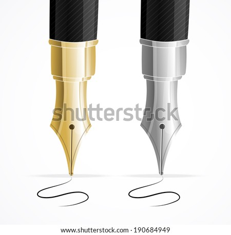 Vector Close up of a fountain pen and signature isolated