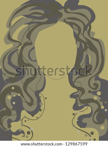 "Vector closeup portrait of a girl with beautiful hair in ornate dress (from my big ""Vintage girl collection"") - stock vector"