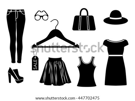 vector clothes icon set in black color on white background. EPS
