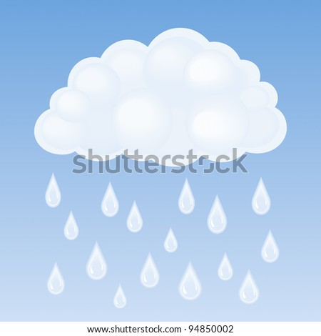 Vector cloud and rain - stock vector