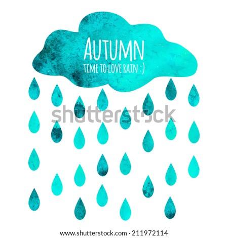 Vector Cloud Rain Drops Symbol Text Stock Vector 2018 211972114