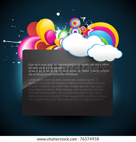 vector cloud background with space for your text - stock vector