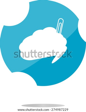 vector cloud button with clip, web icon isolated on white - stock vector