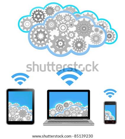 vector cloud computing - stock vector