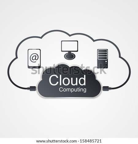 Vector cloud computing concept. Modern design template. - stock vector