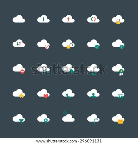 vector cloud computing icons flat style - stock vector