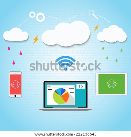 Vector cloud computing to your smartphone, laptop and tablet connected through the clouds together. Blue background with a pattern of zeros and ones. Pattern inside.