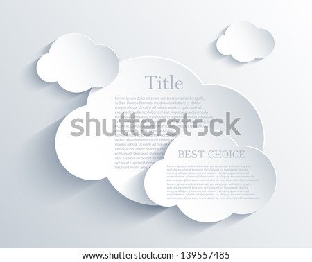 Vector cloud design element with place for your text. Eps10 - stock vector