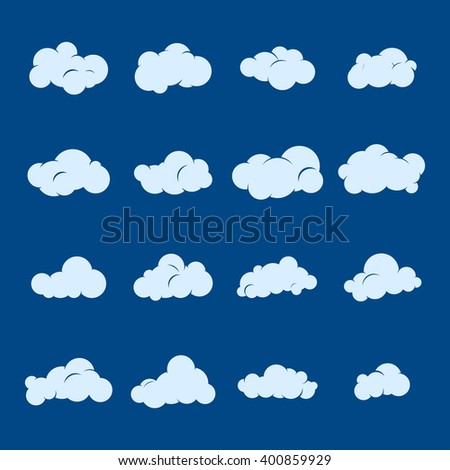 Vector cloud icon set. Cloud symbol collection. Blue sky and white clouds. Design for web and print. Atmosphere pictogram. Silhouette of cloud.