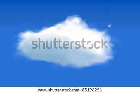 Vector Cloud in sky - created using mesh tool - stock vector