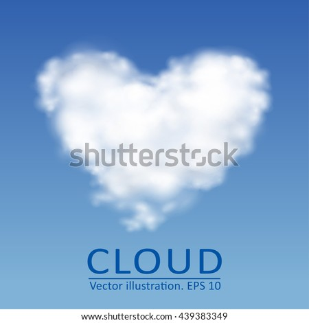 Vector cloud in the form of heart on a blue sky. Vector collection 3. - stock vector