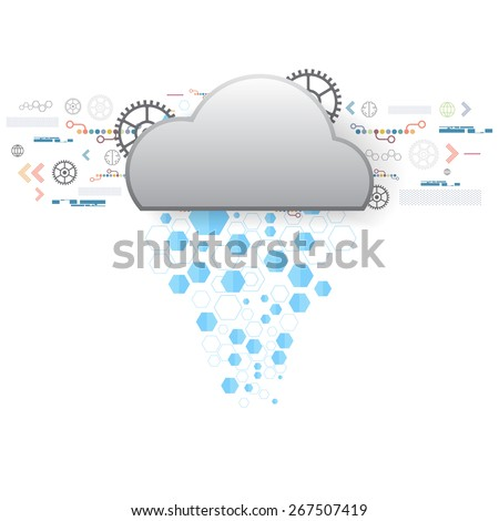 vector cloud internet of things, transfer communication technology  - stock vector