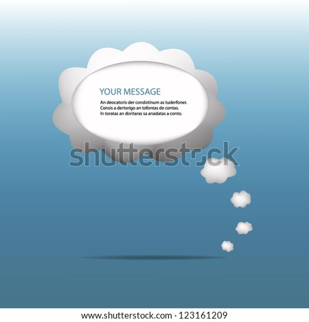 Vector cloud message speech grey on the blue background for design