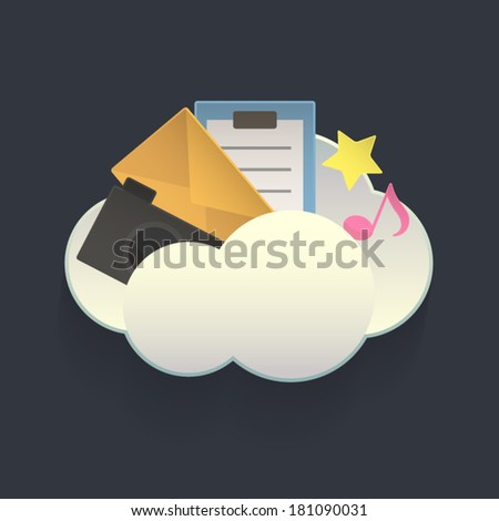 Vector Cloud Service Element - stock vector