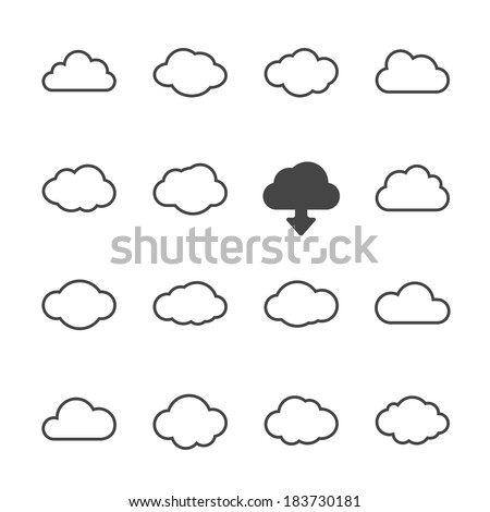 vector cloud shapes set, cloud icons for cloud computing for web and app - stock vector