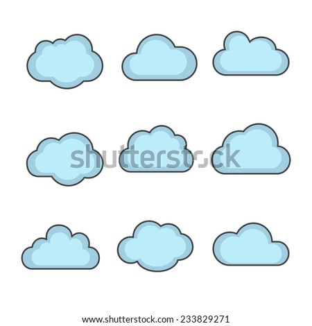 vector cloud shapes set, cloud icons for cloud computing for web and app