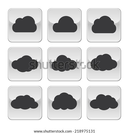 Vector cloud shapes set, cloud icons. Web and app