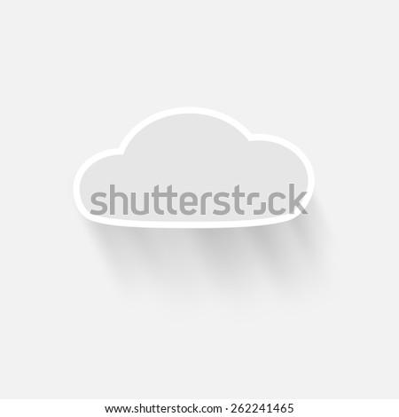 vector cloud with shadow - stock vector