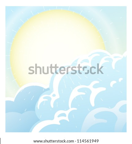 Vector Clouds and Sun Background - stock vector